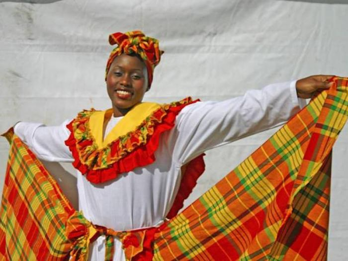 Tobagonian women shows her cultural dress
